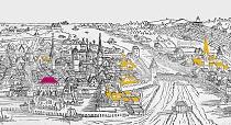 historische Kartenzeichnung Kloster in der Stadt